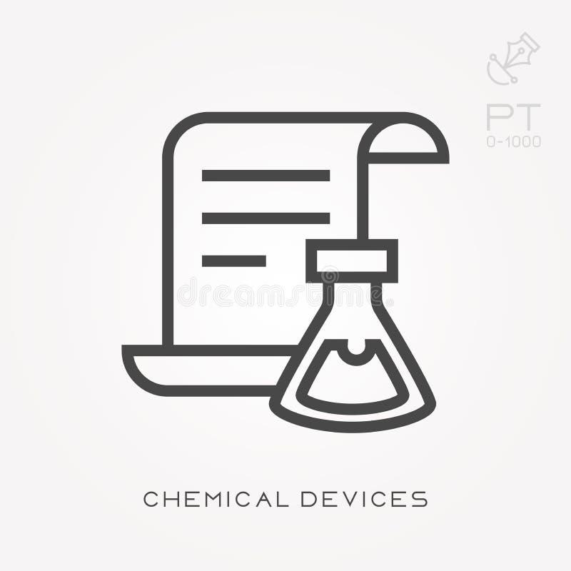 Illustration simple de vecteur avec la capacité de changer Ligne dispositifs chimiques d'icône illustration libre de droits