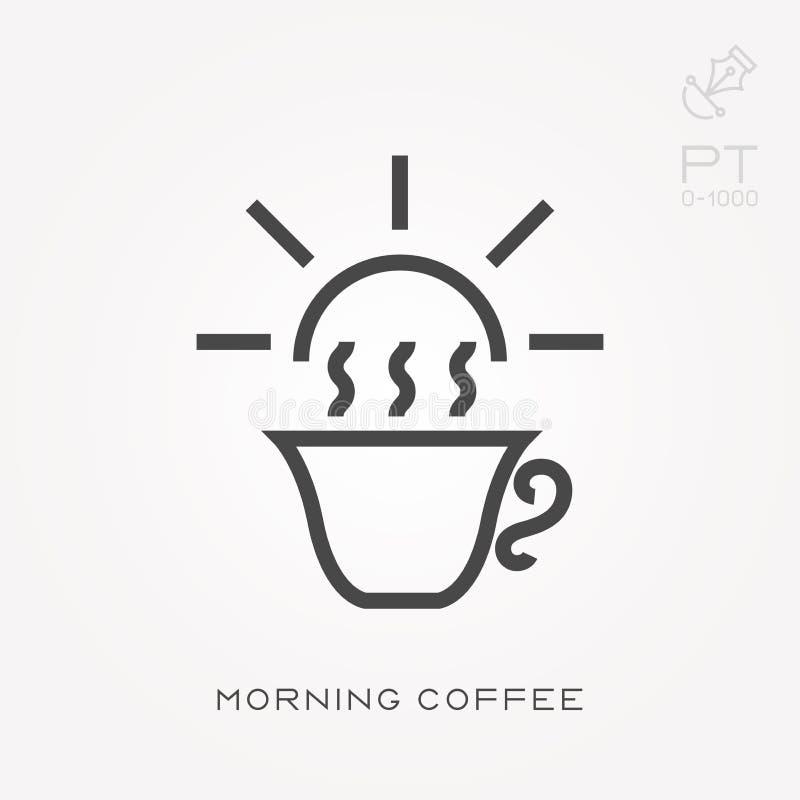 Illustration simple de vecteur avec la capacit? de changer Ligne caf? de matin d'ic?ne illustration stock