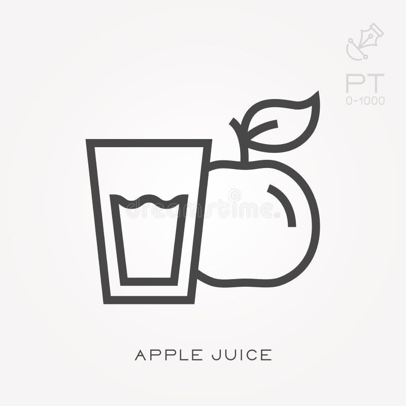 Illustration simple de vecteur avec la capacit? de changer Ligne jus de pomme d'ic?ne illustration stock