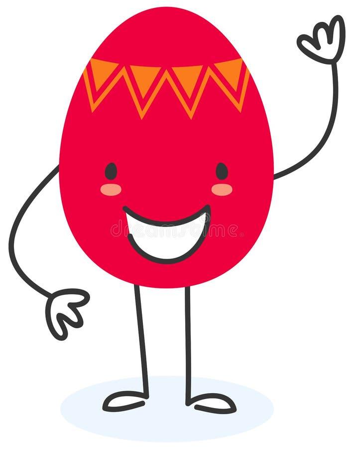 Illustration simple de vecteur d'une position et d'une ondulation plates rouges heureuses de personnage de dessin animé d'oeuf de illustration libre de droits