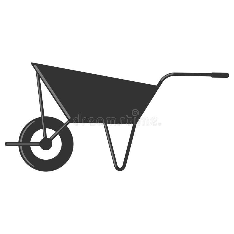 Illustration simple de vecteur de brouette dans le noir illustration stock