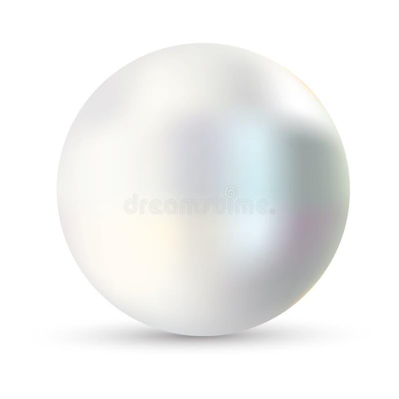 Illustration simple de vecteur de perle Perle d'isolement sur le backgorund blanc avec l'ombre 3d huître naturelle, perle, mer br illustration libre de droits