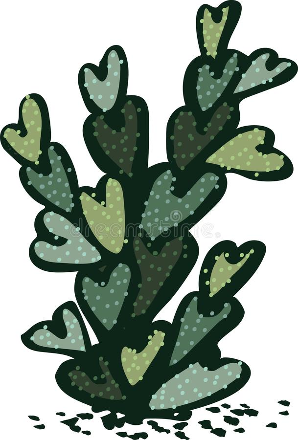 Illustration of single lonenly cactus with heart shaped leaves stock illustration