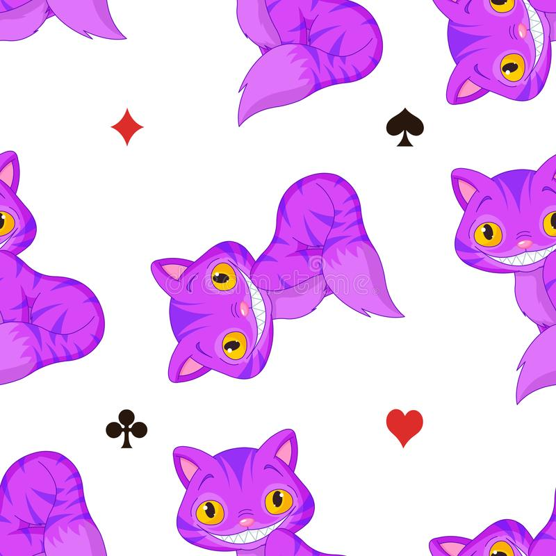 Cheshire Cat Pattern. Illustration of sitting Cheshire cat pattern vector illustration