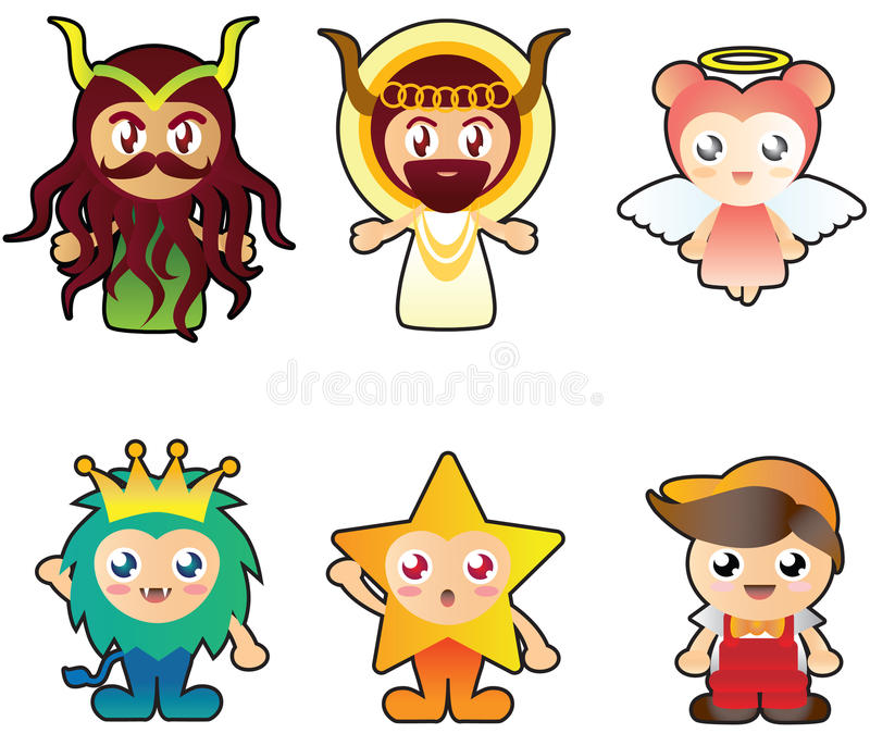 Illustration of six strange cute characters royalty free stock images