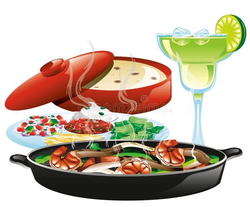 Mexican fajita meal vector illustration