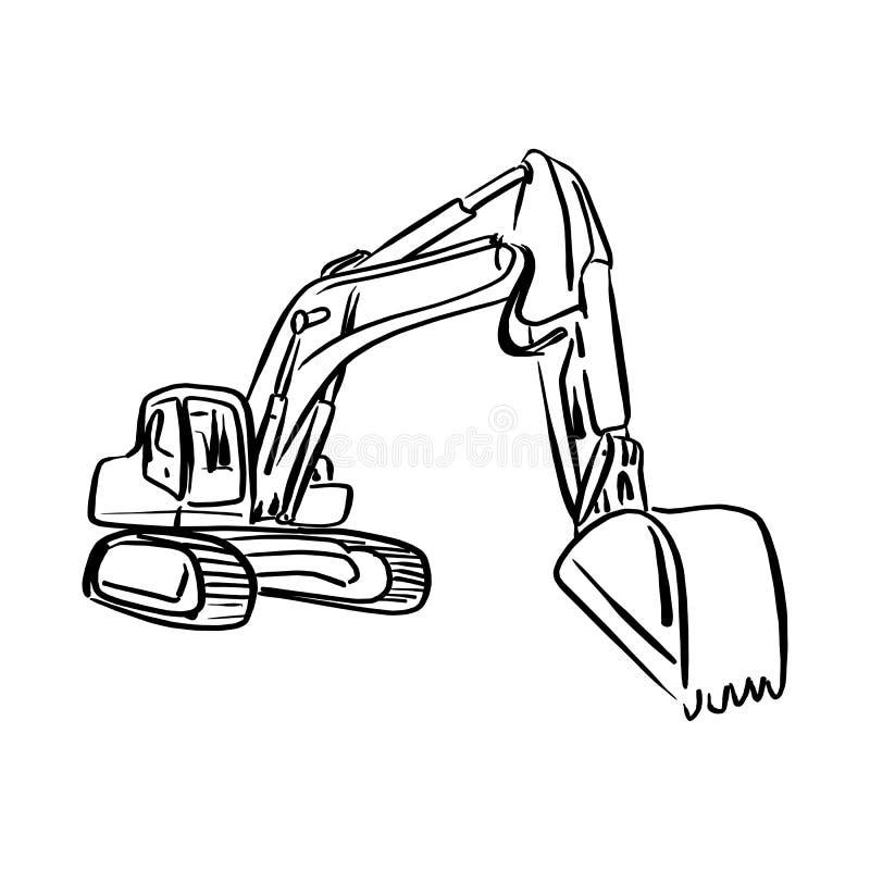 Illustration sk för vektor för grävskopa för laddare för hacka för klotteröversiktsframdel vektor illustrationer