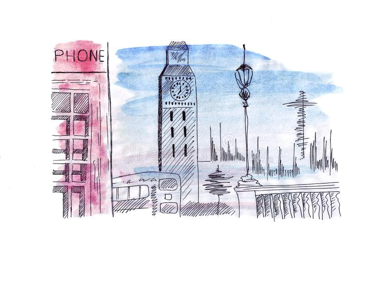 Illustration sketch attraction of the capital of England London: Double-decker bus, prison tower Clock Tower, red phone booth royalty free illustration