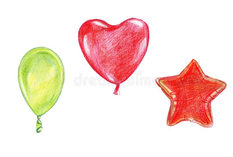 Illustration sketch colored watercolor pencils balloon with a ribbon of various shapes and red colors. Illustration sketch colored watercolor pencils balloon royalty free illustration