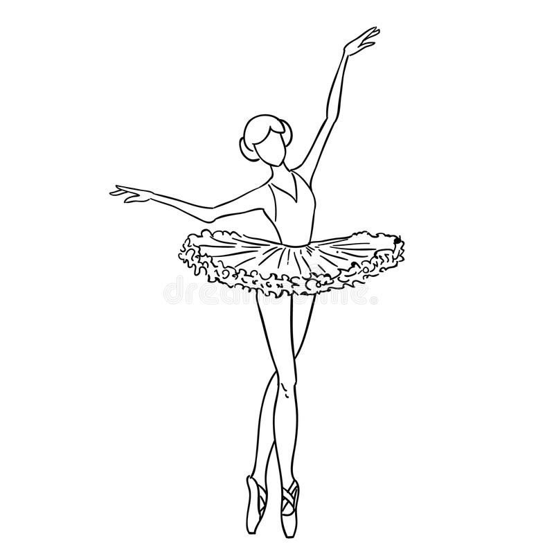 Illustration Of A Sketch Contour Drawing Of A Girl Ballerina Dancer