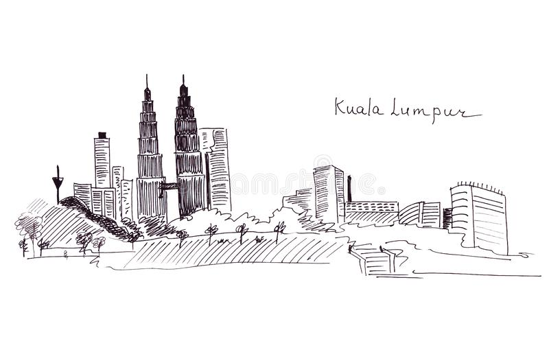 Illustration sketch landmarks Malaysia: the main building and the Twin Towersr. Illustration sketch landmarks Malaysia : the main building and the Twin Towers stock illustration