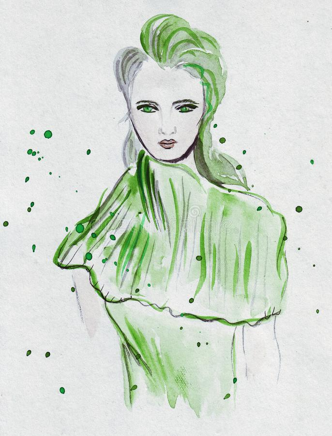 Illustration sketching expressive fashion girl portrait painted in watercolor with some splashes stock illustration