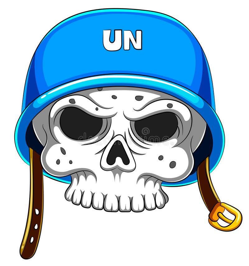 Skull in blue helmet on white background royalty free stock images