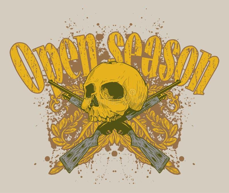 Illustration Of Skull And Guns Royalty Free Stock Photo