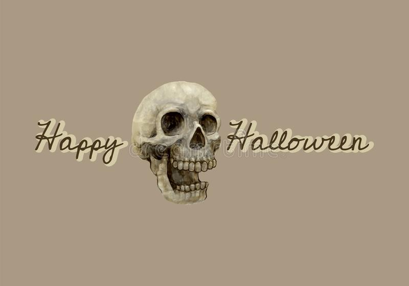 Illustration of a skull and Happy Halloween icon vector stock illustration