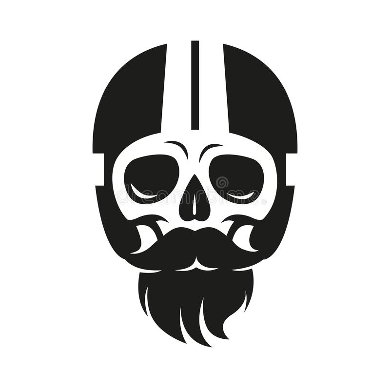 Sign skull in moto helmet, print on t-shirt vector illustration