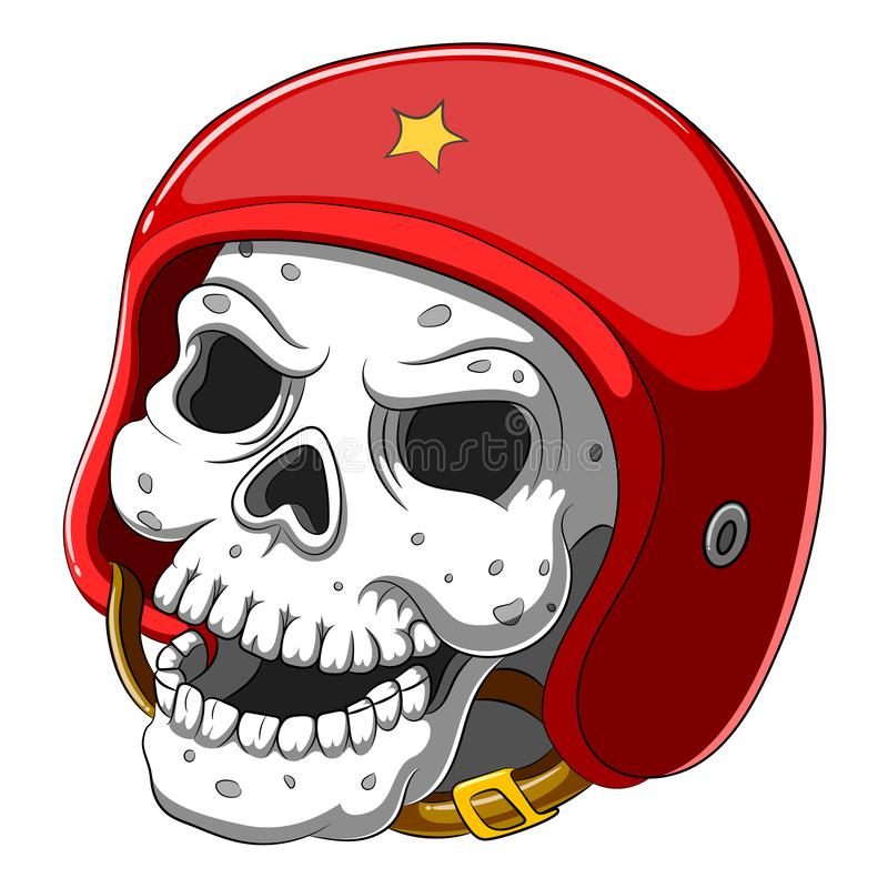 Skull in red helmet on white background stock photo