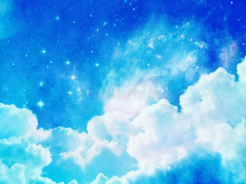 Illustration of sky with clouds blurred background. Illustration sky clouds blurred background outdoor top view art white blue natural weather creating wallpaper vector illustration