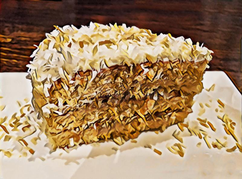 Illustration of a slice of coconut cream cake on a white plate royalty free stock photos