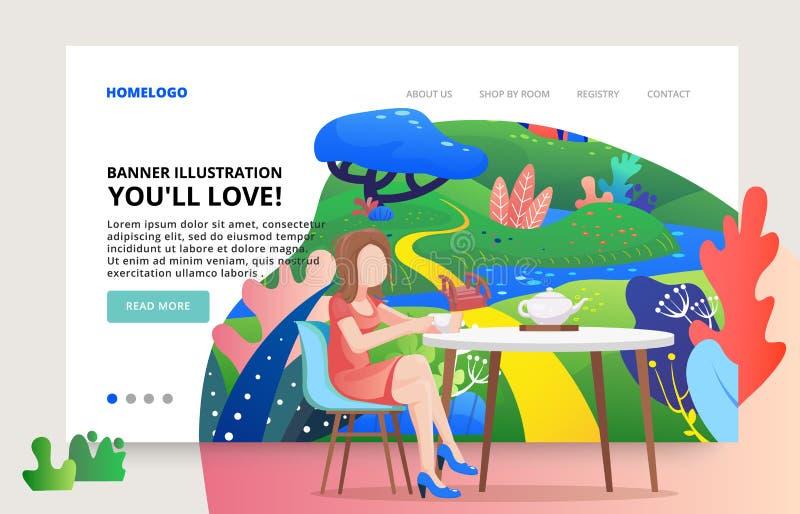 Illustration slide for website for cafe, tea product. Modern illustration. Web page template nature theme. Fantasy landscape. Fantasy landscape. Tea vector illustration