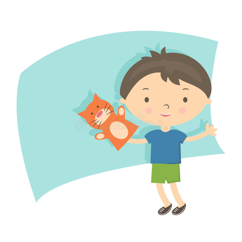 Illustration small boy with hand puppet . Vector royalty free illustration