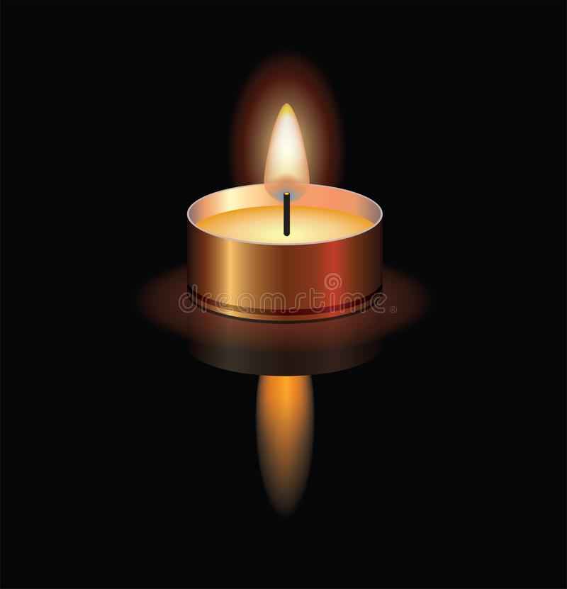 illustration of a small burning candle. vector vector illustration