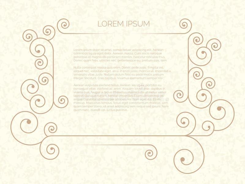 illustration of small minimal frame for text on beige background. vector illustration