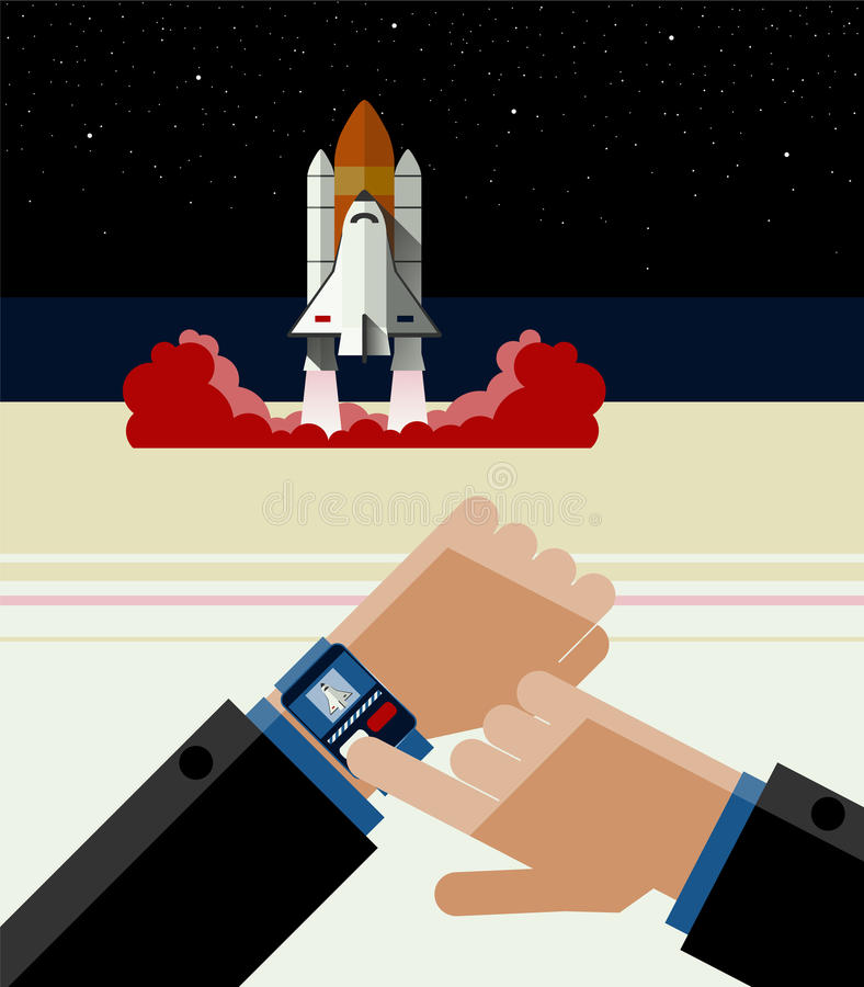Illustration of Smart Watch and the Space Shuttle royalty free illustration
