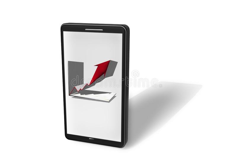 Illustration of a smartphone with graph in display as a 3D rendering stock illustration