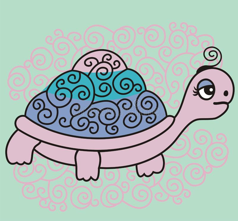 Illustration Of A Smiling Cartoon Cute Sea Turtle Isolated Baby