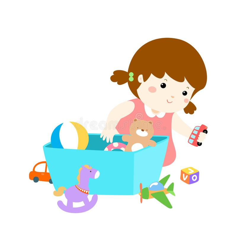 Illustration of cartoon cute girl storing toys. Illustration of smiling cute cartoon girl storing her toys in the box stock illustration