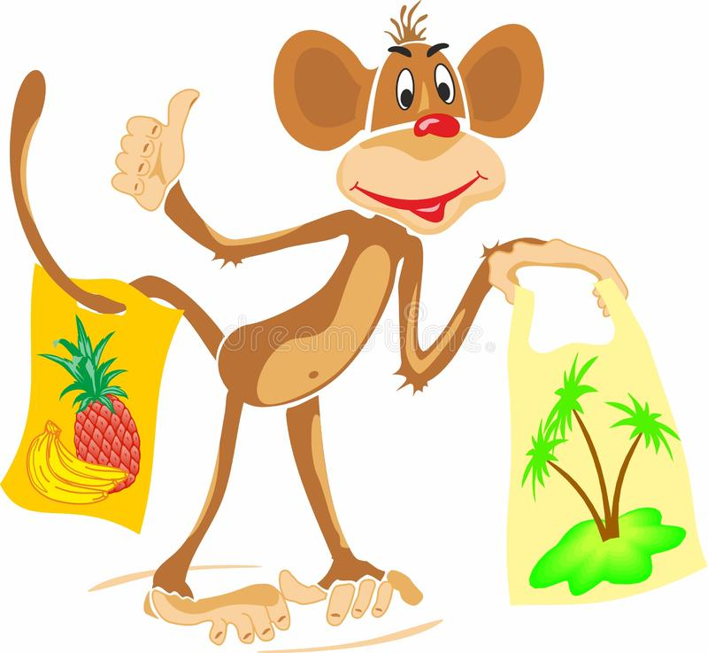 Shopping monkey with packages. royalty free stock photography