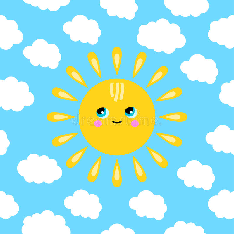 Illustration Of A Smiling Sun In The Clouds Stock Photography