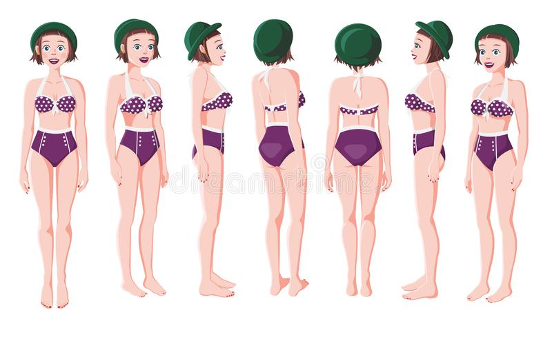 Illustration of Smiling Women in Swimming Suit stock photos