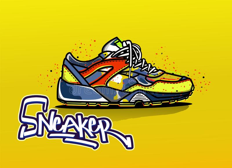 Illustration of sneakers in color. Sport shoes. Illustration of sneaker in color. Sport shoes. Shoes for running. Icon. Lettering logo. Vector EPS 10 royalty free illustration