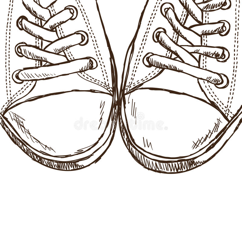 Illustration Of Sneakers - Hand Drawn Style Stock Photos
