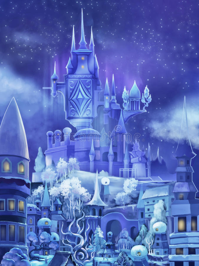 Illustration The Snow Palace In Fairy Tale Fantastic Cartoon Style Scene Wallpaper Background Design