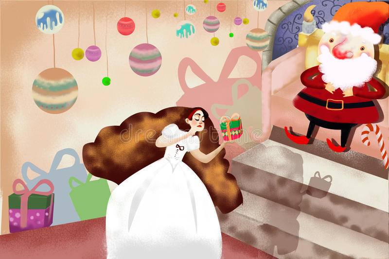 Illustration: Snow White Get a Gift with Magic Spell from Santa Claus, then She gets Sleep. Realistic Fantastic Cartoon Style Artwork royalty free illustration