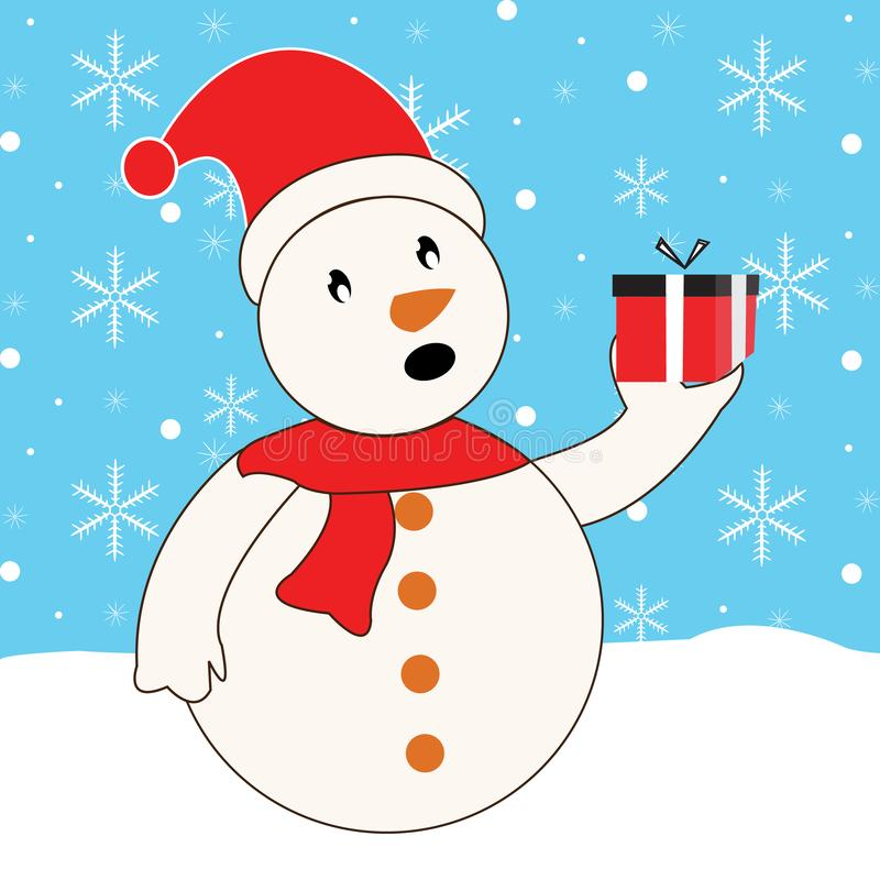 Winter Snowman vector illustration with gift and snowflakes vector illustration