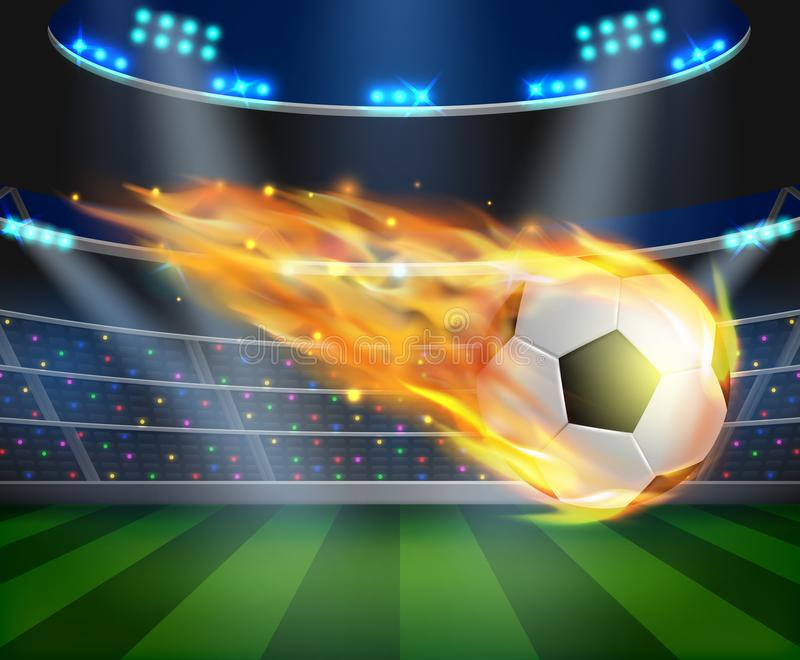 Soccer ball with fire effect illustration stock illustration