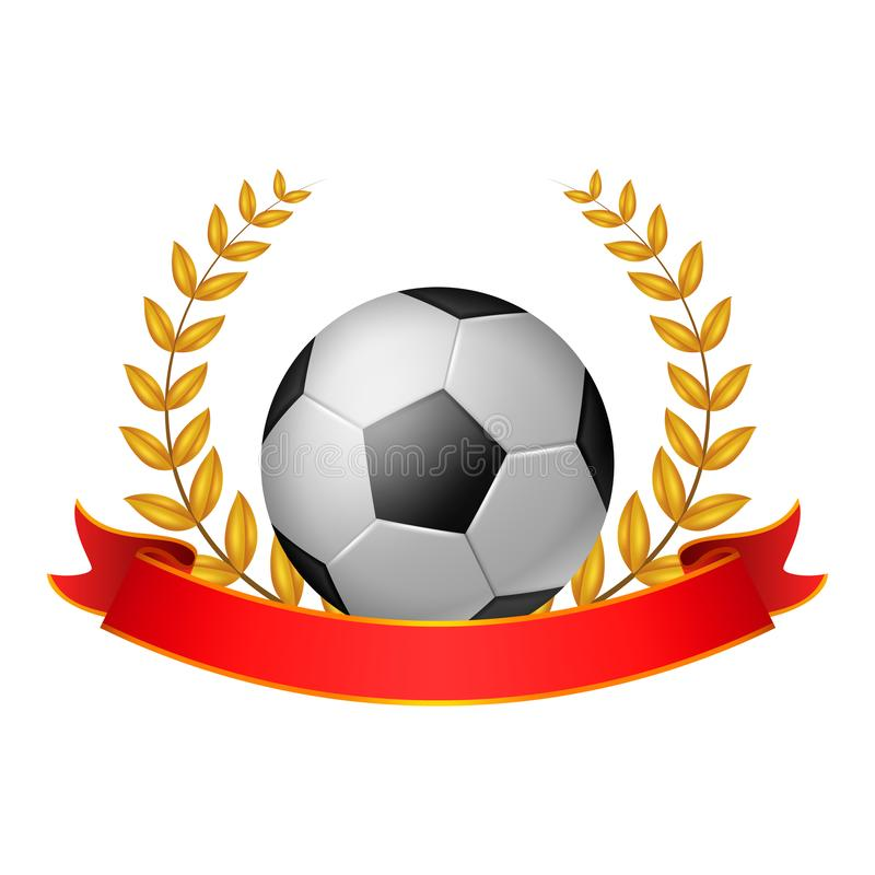 Soccer ball Laurel Wreath with red ribbon royalty free illustration