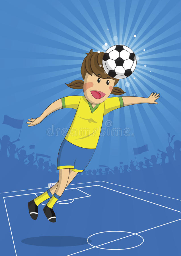 Illustration Soccer Girl Player Head Shooting a Ball royalty free illustration