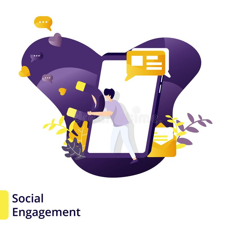Illustration. Social Engagement , can be used for landing pages, web, ui, banners, templates, backgrounds, flayer, posters - Vector flat man power popular stock illustration