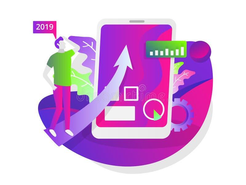 Illustration of the social media business website vector illustration