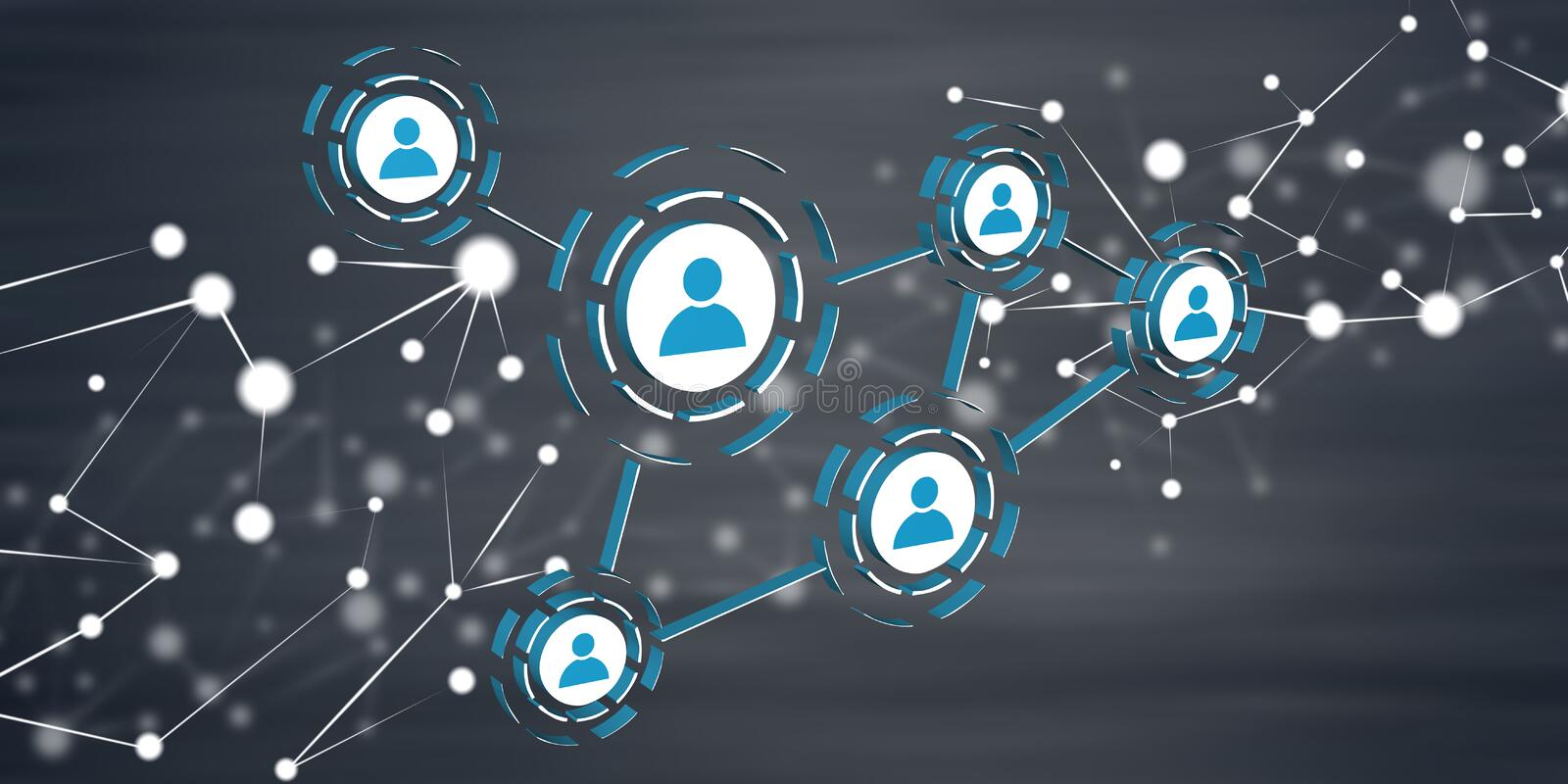 Concept of social media and teamwork stock image