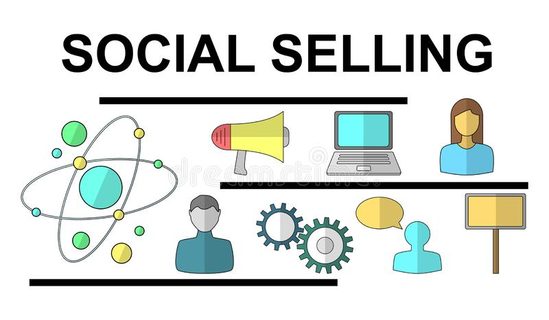 Concept of social selling vector illustration