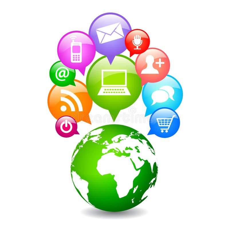 Planète sociale de médias de vecteur illustration libre de droits