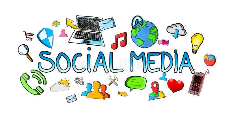 Illustration sociale tirée par la main de media avec des icônes illustration libre de droits