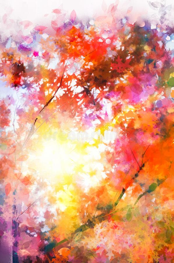 Free Illustration Soft Colorful Autumn Forest. Abstract Fall Season  Yellow  Red Maple Leaf On Tree  Outdoor Landscape. Royalty Free Stock Photos - 208463008