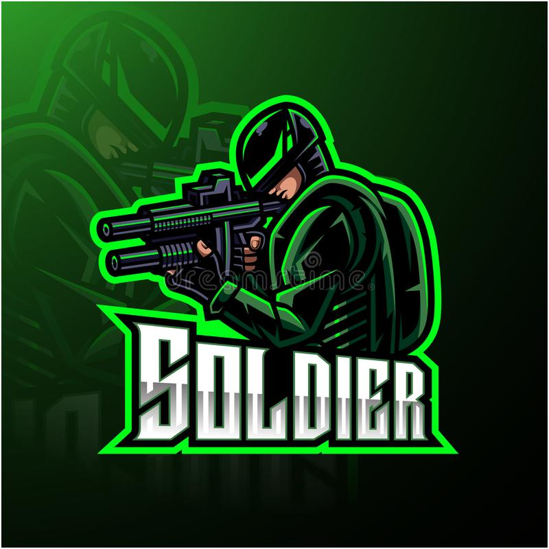Soldier mascot esport gaming logo. Illustration of Soldier mascot esport gaming logo stock illustration
